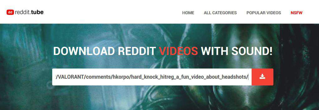 paste reddit video url to download
