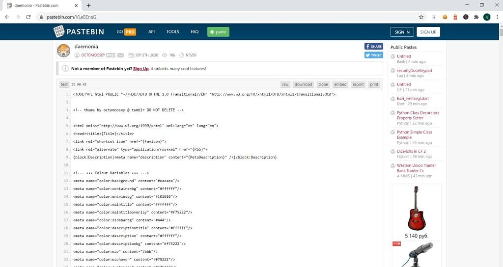 tumbler theme code hosted on pastebin
